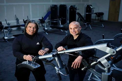 Agassi with his personal fitness coach and Guru,Gil reyes