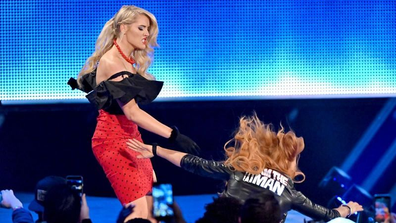 Becky Lynch addressed the fans and brawled with Lacey Evans, just like on RAW.