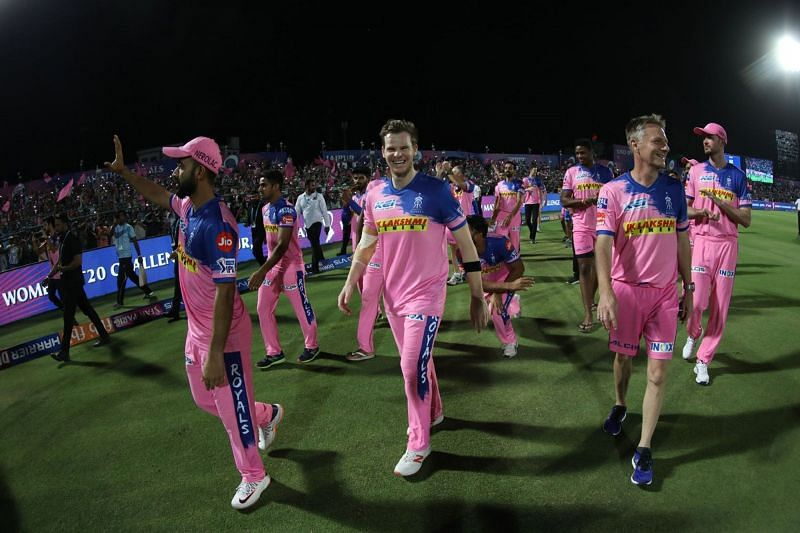 Rajasthan players did the lap of honour after the match as they ended their home season in this year