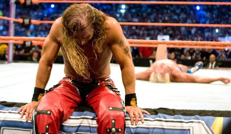 A dejected HBK after ending Flair