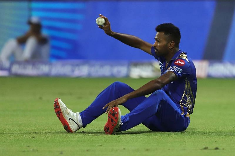Hardik Pandya after completing a catch. Image Courtesy: IPLT20/BCCI