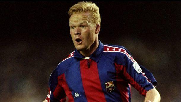 Koeman playing for Barcelona