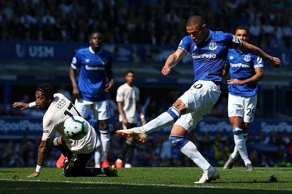 Action from Everton vs Man United