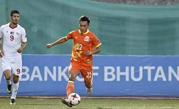 Lhendup Dorji in action for the Bhutanese national team (Image: Facebook)
