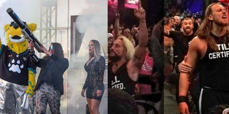 Joey Janela has expressed his desire to face Enzo Amore (second from right) at a Bloodsport event next year