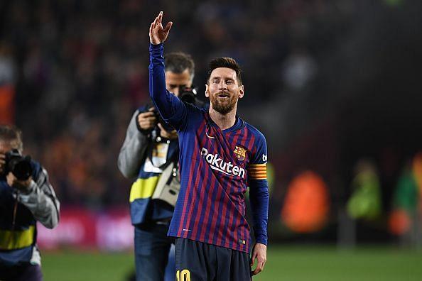 Lionel Messi celebrates Barcelona