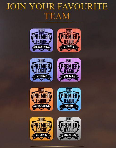 PUBG Mobile Premier League: Teams