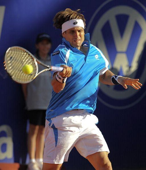 David Ferrer in action at 2012 Barcelona Open Banc Sabadell Final