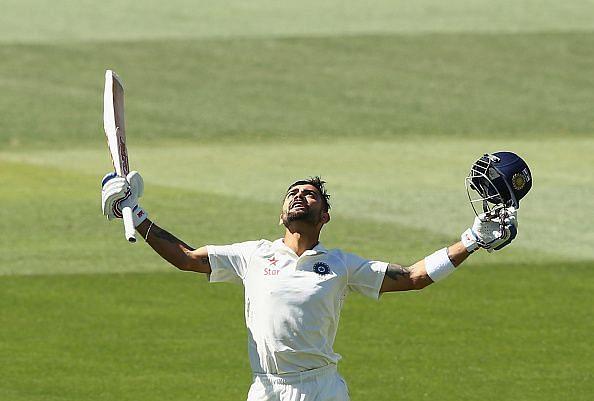 Kohli celebrating one of his many hundreds