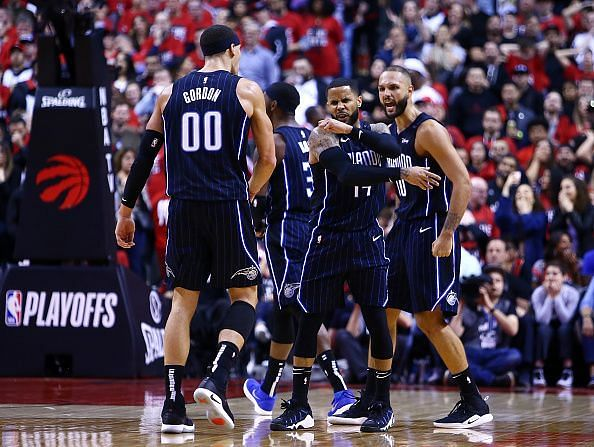 Orlando Magic players celebrate during their surprise Game One victory