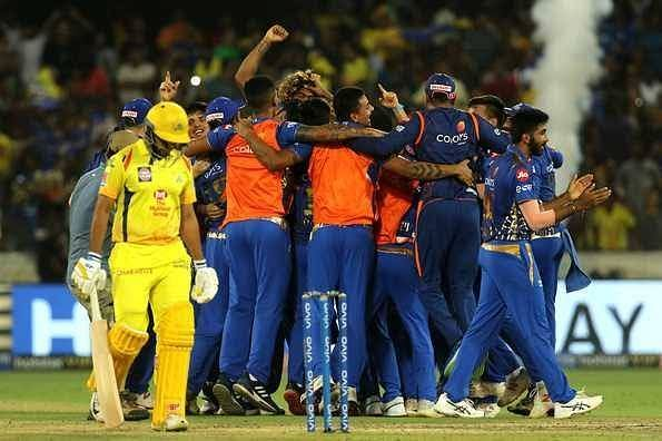 Mumbai Indians team Celebrates after the Victory over CSK.