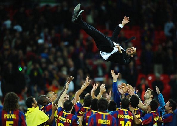 Guardiola won a host of trophies at Barcelona