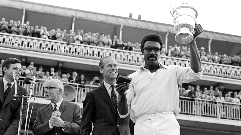 Clive Lloyd lifting his second World Cup after beating England in the finals