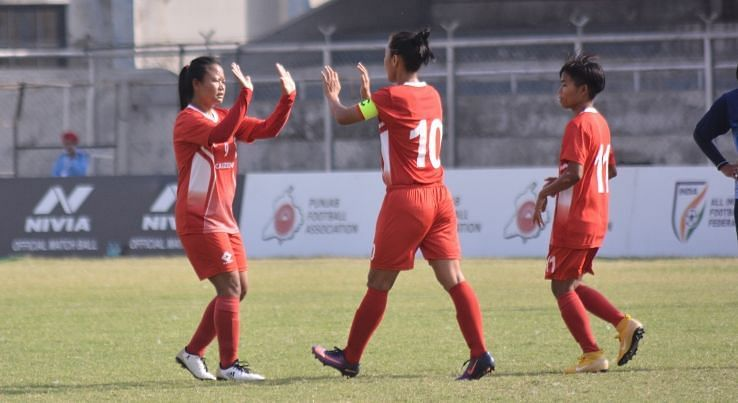 Manipur Police celebrate a goal against Baroda Football Academy