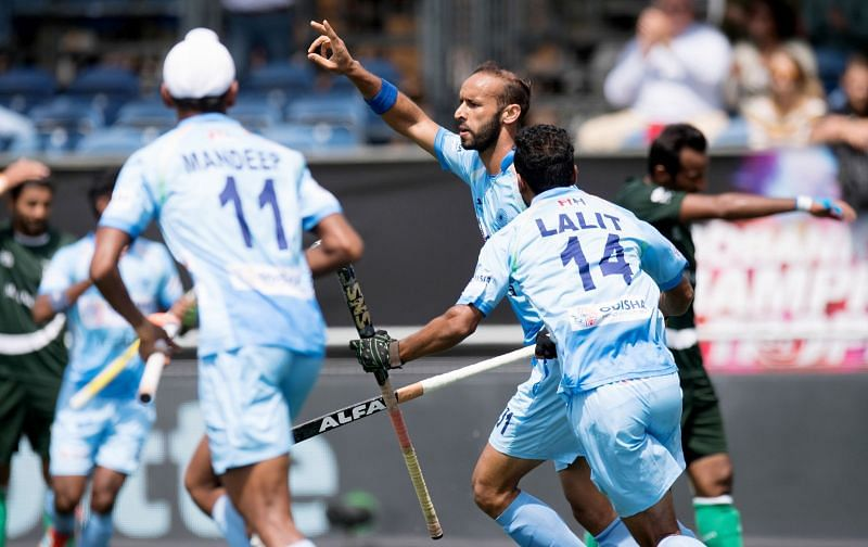 Ramandeep Singh after scoring against Pakistan in the CT last year