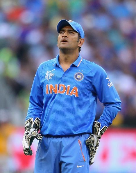 MS Dhoni during the 2015 ICC Cricket World Cup