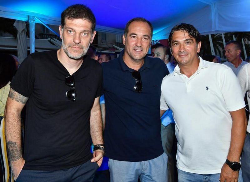 Igor Stimac (left) with former Croatian national team coach Slaven Bilic and current Croatia manager Zlatko Dalic