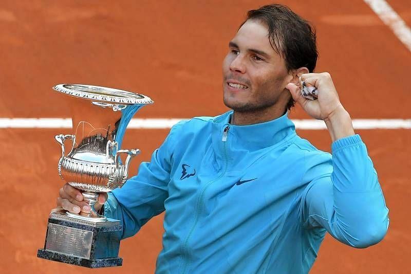 Rafael Nadal with the Italian Open title