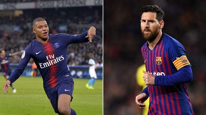 Kylian Mbappe cuts Lionel Messi