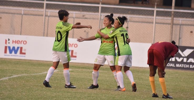 Gokulam Kerala players celebrate after a goal over SSB Women Football Club in the Indian Women