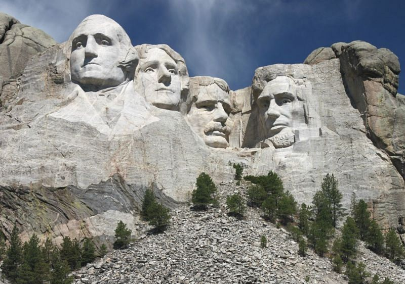 From left - George Washington, Thomas Jefferson, Teddy Roosevelt and Abraham Lincoln.