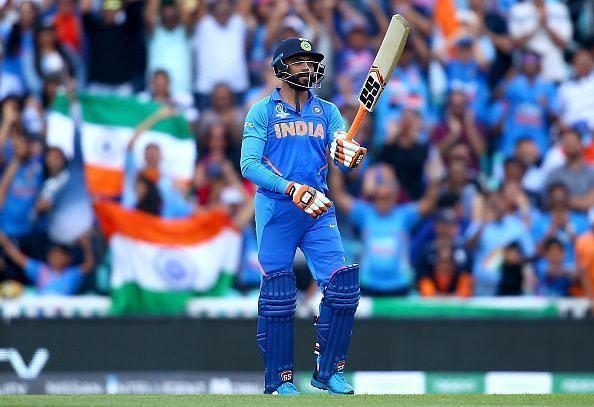 Jadeja celebrates his half-century with favourite sword celebration against New Zealand