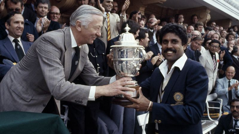 Kapil Dev with the World Cup trophy at Lords in 1983.