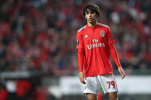 Joao Felix in action for Benfica v Eintracht Frankfurt - UEFA Europa League Quarter Final: First Leg