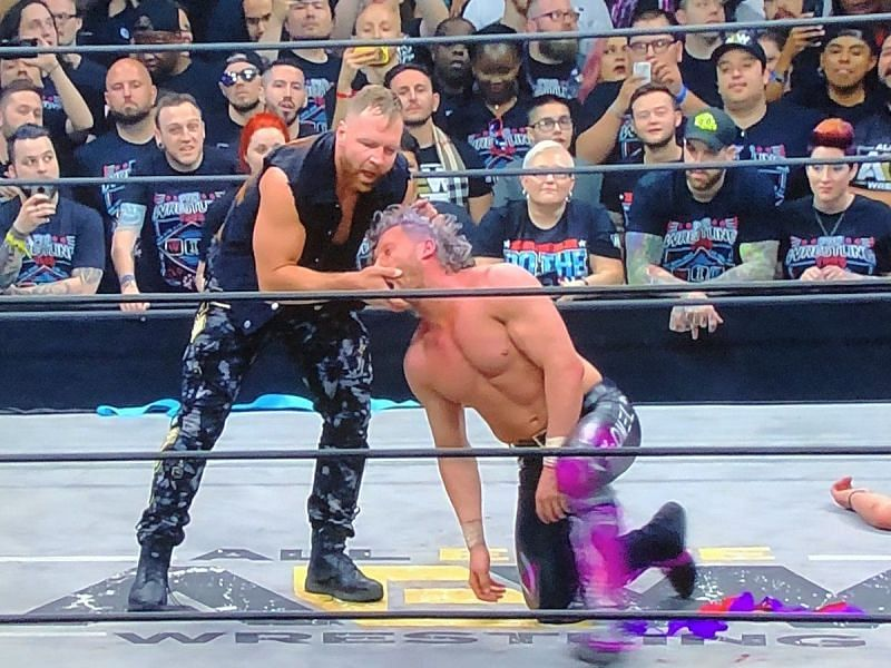 Jon Moxley and Kenny Omega during their brawl at DoN