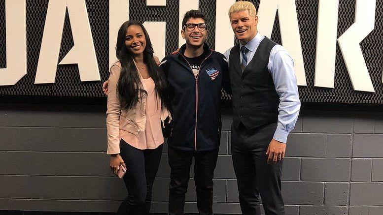 Brandi Rhodes, Tony Khan and Cody Rhodes