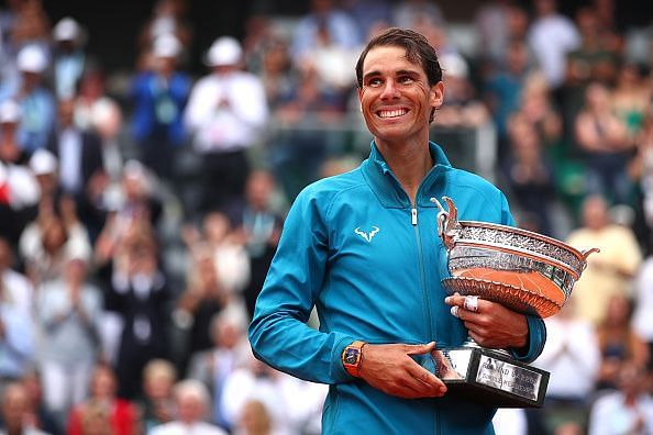 Rafael Nadal with his 11th title