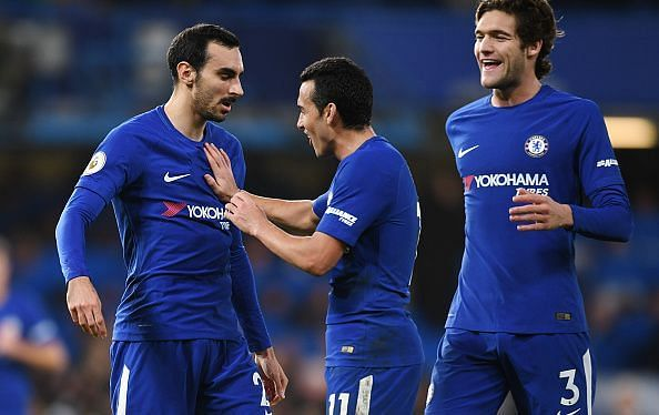 Chelsea players- Davide Zappacosta (left), Pedro (middle) and Marcos Alonso (right)