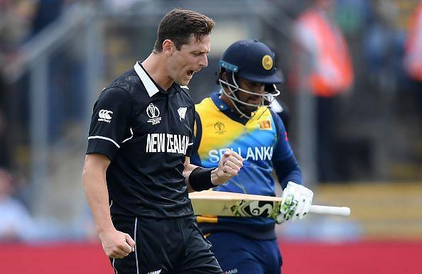 Matt Henry celebrates the fall of Sri Lankan skipper Karunaratne