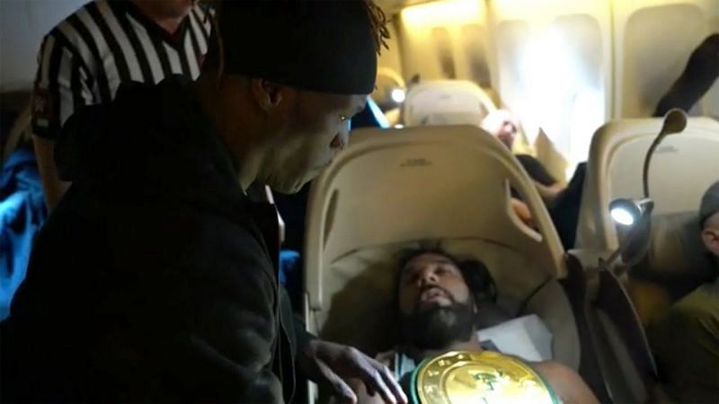 Image result for r-truth pins jinder mahal in flight