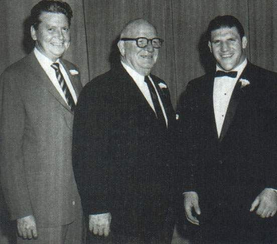 From (l) to (r): Vince McMahon Sr., Toots Mondt, and Bruno Sammartino