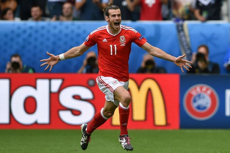 Bale celebrates his goal against England