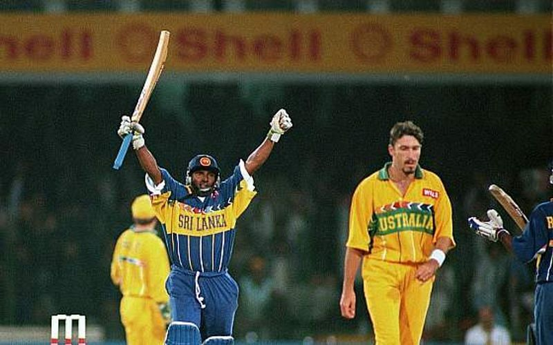 Aravinda De Silva in action against Australia in the 1996 World Cup Final.