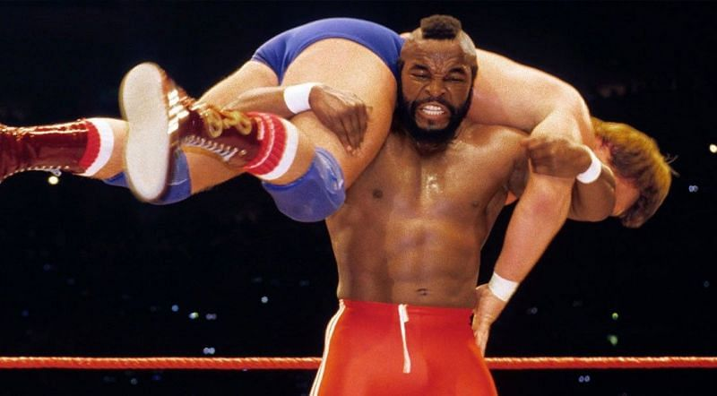 Mr. T hoists Roddy Piper on his shoulders at Wrestlemania.