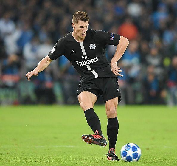 Thomas Meunier in action for Paris Saint Germain