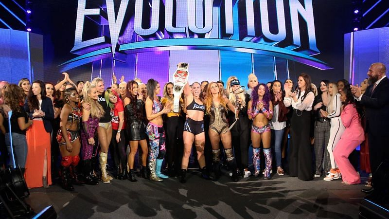 The closing moments of WWE Evolution showed the entire women
