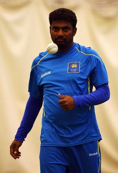 Muttiah Muralitharan in a nets session
