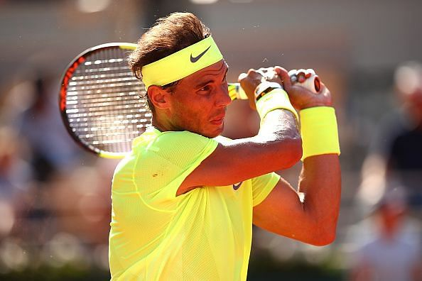 2019 French Open - Rafael Nadal in action in his Round of 16 clash