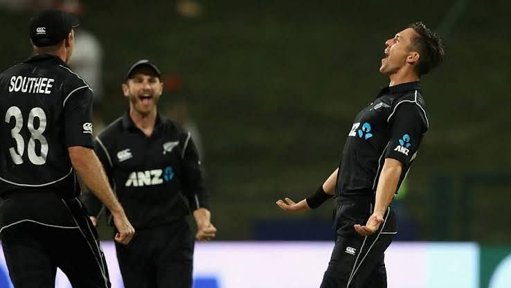 Kane Williamson, Trent Boult and Tim Southee