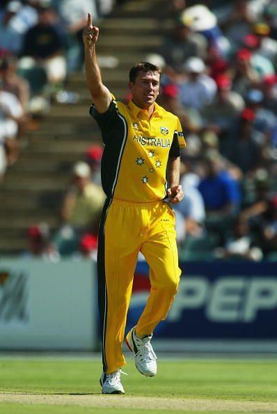 Glenn McGrath of Australia celebrates the wicket of Inzamam-ul-Haq of Pakistan