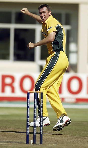 Glenn McGrath of Australia celebrates the wicket of Scott Styris of New Zealand