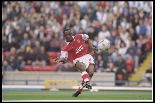 Ian Wright slots in Arsenal's first goal