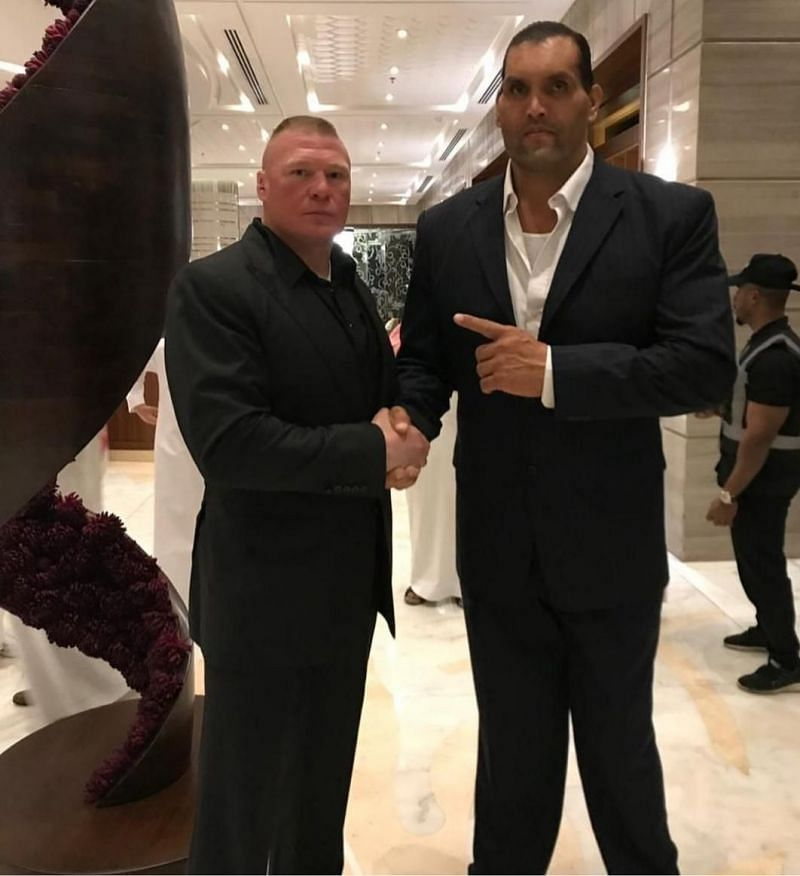 The Great Khali with Brock Lesnar