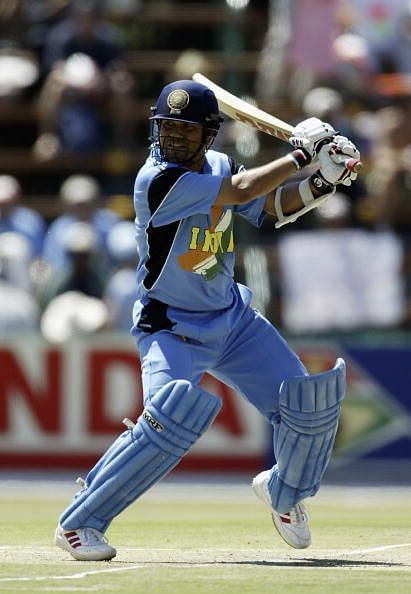 Sachin Tendulkar of India hits out