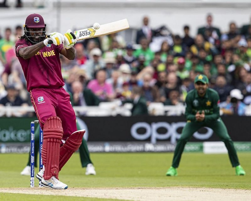 Chris Gayle inscribed his name in the history books once again when he smashed three sixes in his 33-ball half-century against Pakistan in their inaugural match of the ICC Cricket World Cup 2019.