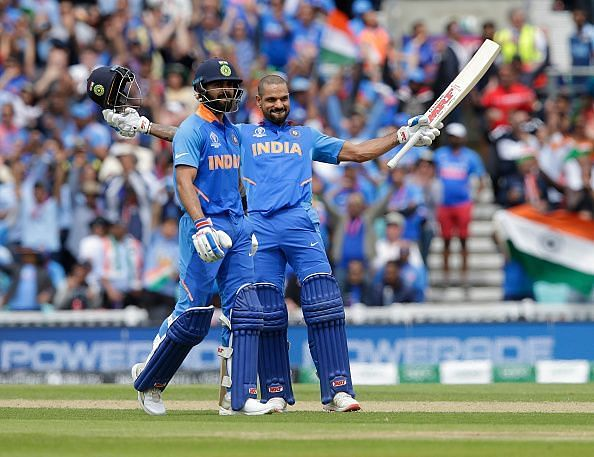 Shikhar Dhawan set the stage for a massive Indian total with a canny century.